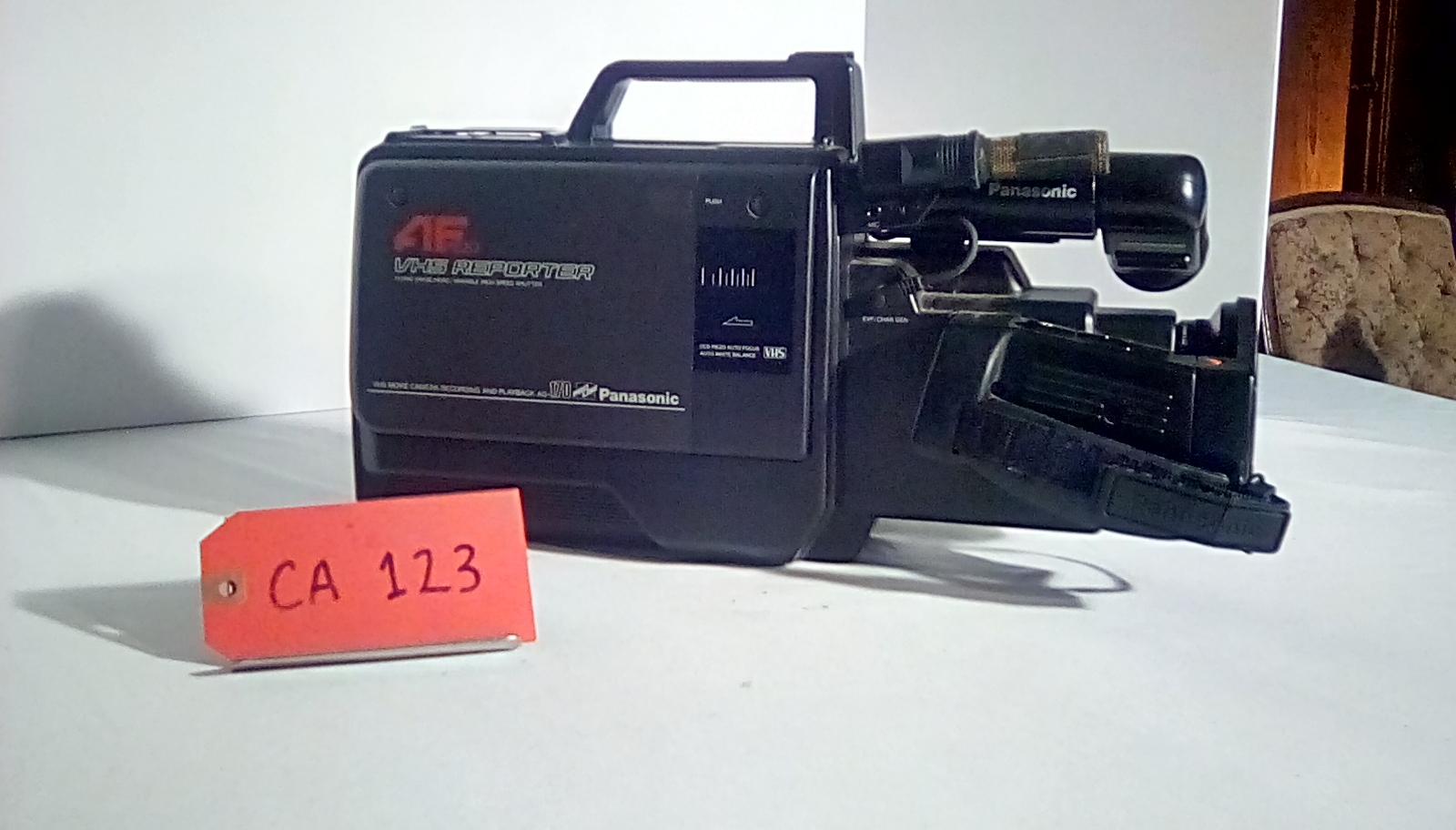 "CA123, VHS movie camera, circa 1980""s, w/tripod mount"