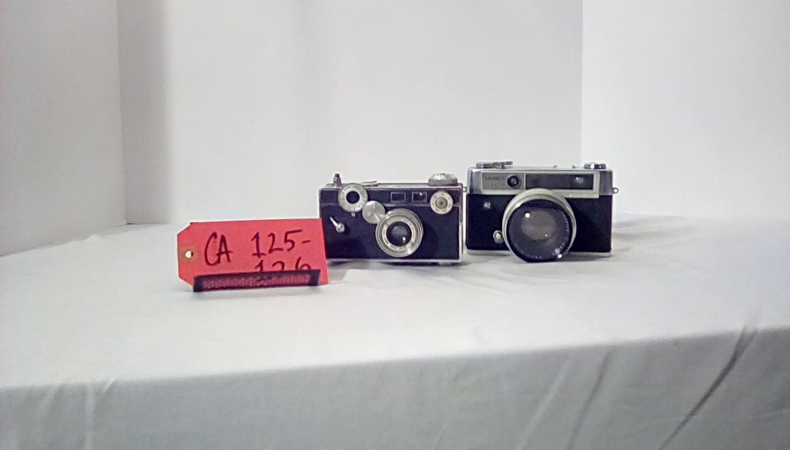 CA125-126, Argus Cintar w/leather fitted case, Yashica IC w/leather fitted case & flash