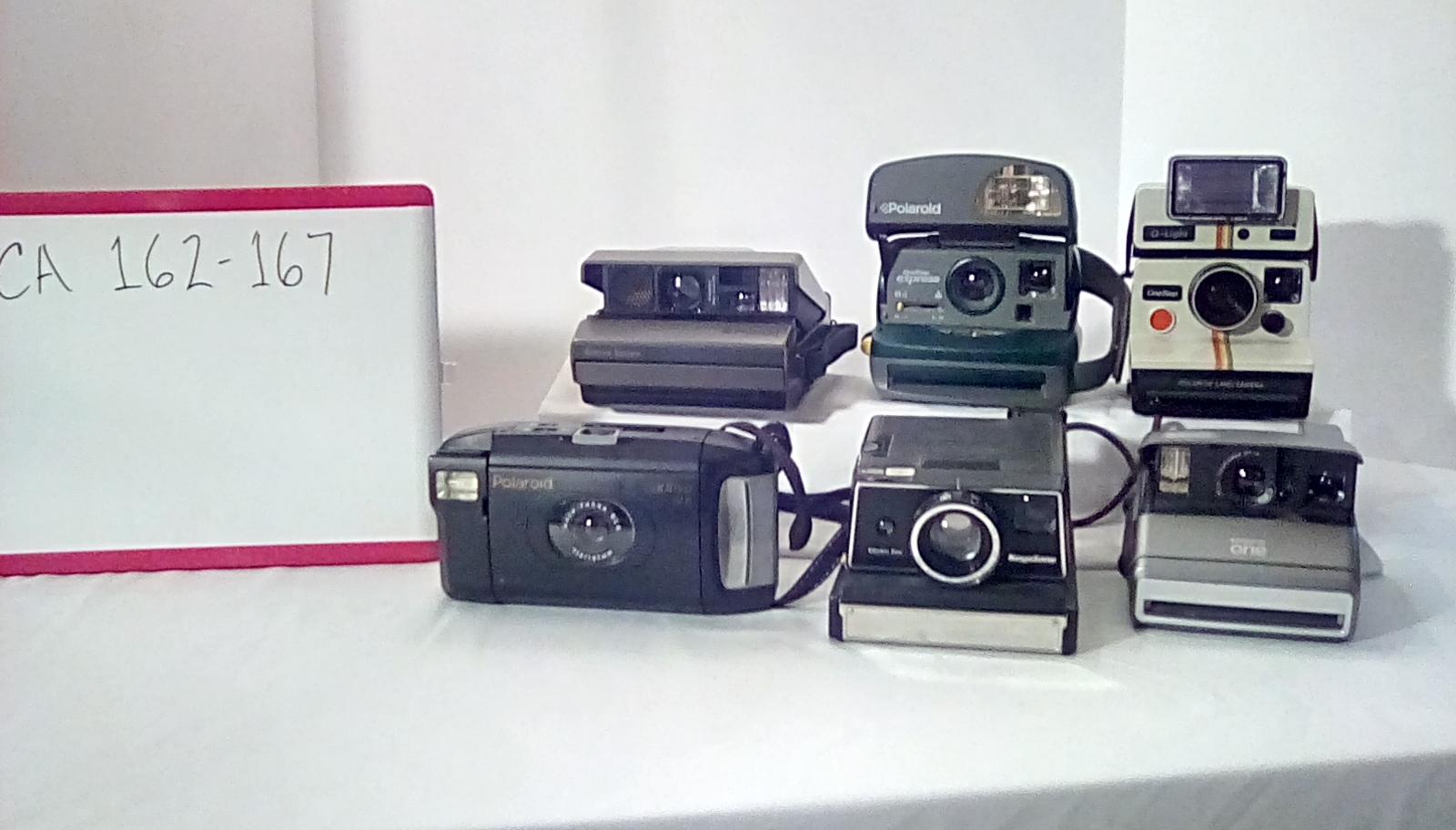 CA162 Polaroid spectra system w/case & hand strap, CA165 Polaroid captiva SLR w/neck strap, CA163 Polaroid 1 step express w/hand strap, CA167 Polaroid 1 w/wrist strap, CA164 polaroid 1 step light w/neck strap, CA166 Keystone electric eye w/neck strap