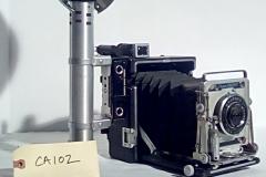CA102, Reporter camera, Crown Graphic, w/electronic flash, accordion fold