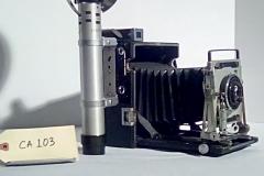 CA103, Reporter camera, Crown Graphic,w/electronic flash, accordion fold