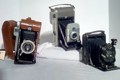 CA116-118 all accordion fold, Pocket cameras,  CA116- has form fit leather case w/wrist strap. CA 117- CA118 have hard cases w/wrist strap.