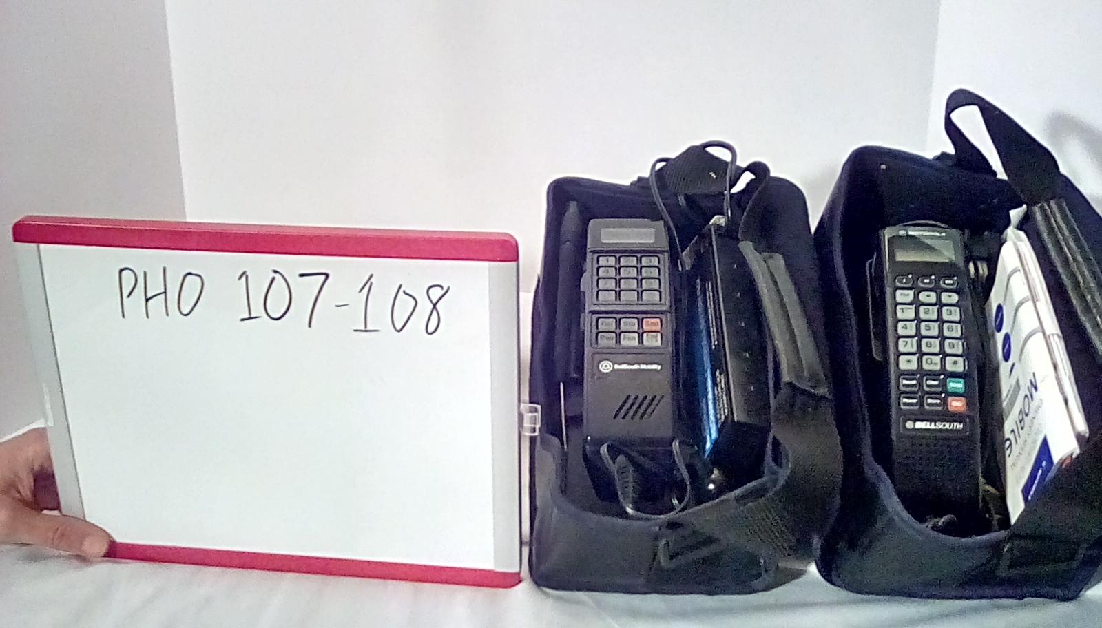 PHO107 Bell south motorola bag phone, PHO108 Bell south motorola bag phone w/green buttons