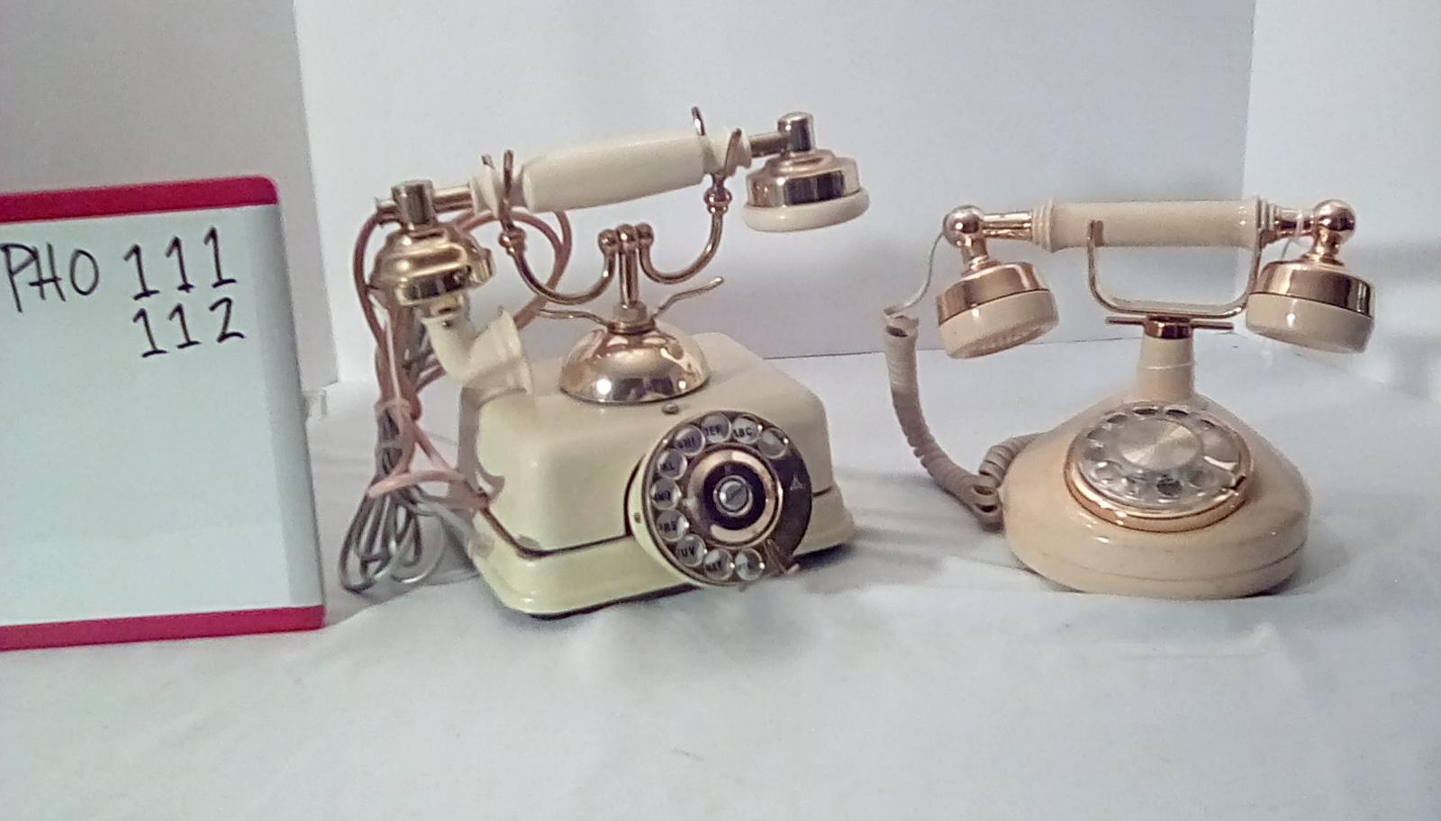 PHO111 beige square base rotary princess desk phone,  PHO112 Beige rotary princess desk phone