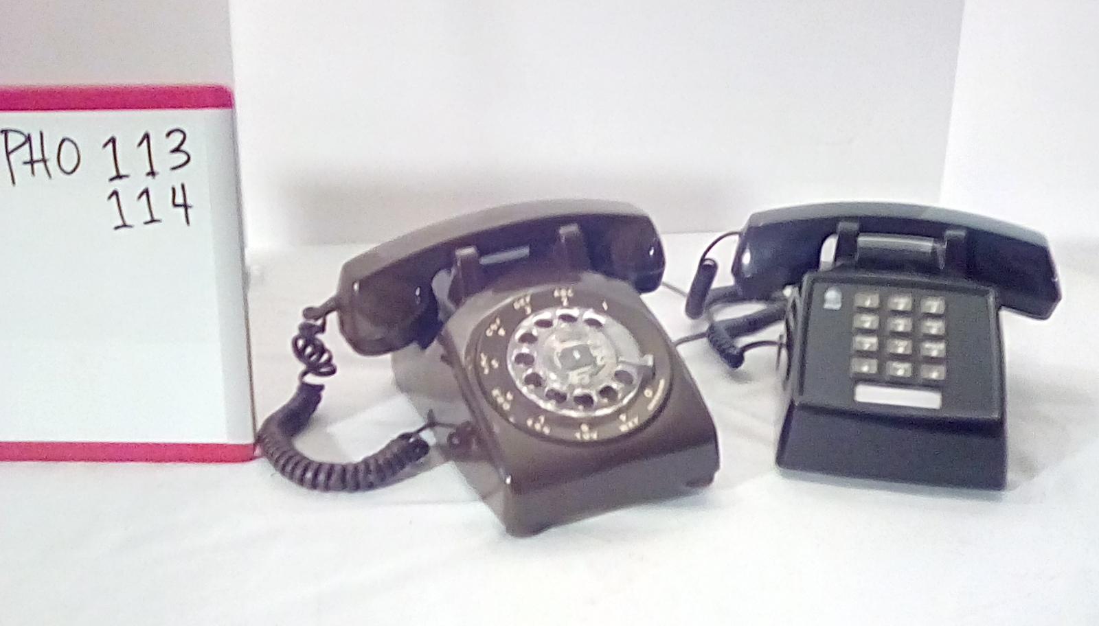 PHO113 Brown rotary desk phone, PHO114 Black push button desk phone