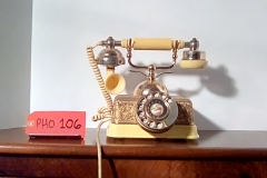 PHO106 Beige & gold square rotary  desk phone