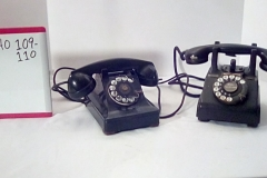CA109 crosley classic kettle black rotary desk phone, CA110 black rotary desk phone w/raised cradle
