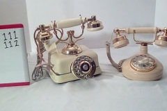 PHO111 beige square base rotary princess desk phone,  PHO112 Beige rotary princess desk phone