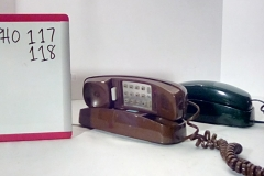 PHO117 Brown trimline push button desk phone PHO118  Green slimline push button desk phone