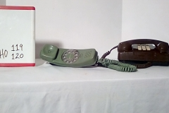 PHO119 Trimline green rotary desk phone, PHO120 brown 1970's princess push button desk phone
